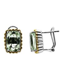 Lord & Taylor | Metallic Sterling Silver And 14kt. Yellow Gold Green Amethyst Earrings | Lyst