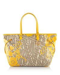 Henri Bendel | Yellow Disturbed Stripe Xl Floral Travel Tote | Lyst