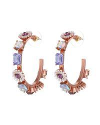 Betsey Johnson | Spring Fling Purple Flower Hoop Earrings | Lyst