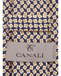 Canali   Multicolor Square Print Silk Satin Tie for Men   Lyst