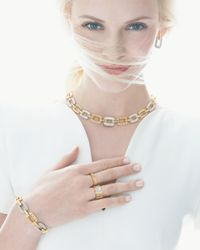 Roberto Coin - Metallic Pois Moi 5-diamond Square Link Necklace - Lyst