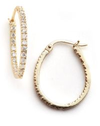 Lord & Taylor | Metallic Pave Hoop Earrings | Lyst