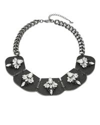 ABS By Allen Schwartz | Metallic Crystal Hematite-tone Bib Necklace | Lyst