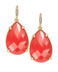 ABS By Allen Schwartz | Pink Pave Accented Teardrop Earrings | Lyst