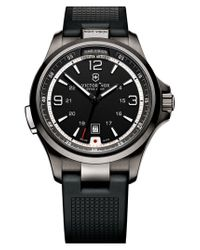 Victorinox | Black Victorinox Swiss Army 'night Vision' Rubber Strap Watch for Men | Lyst