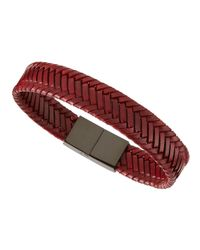 Link Up - Red Woven Leather Bracelet for Men - Lyst