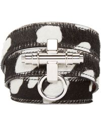 Givenchy - Black Spotted Calf Hair Wrap Bracelet With Obsedia - Lyst