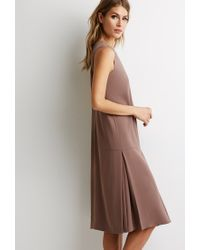 Forever 21 | Brown Inverted-pleat Shift Dress | Lyst