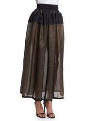 J. Mendel - Black Pleated Sheer Silk Organza Skirt - Lyst