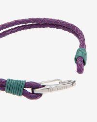 Ted Baker | Purple Woven Leather Bracelet for Men | Lyst