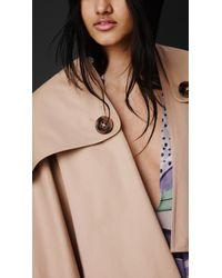 Burberry - Natural Gabardine Trench Poncho - Lyst