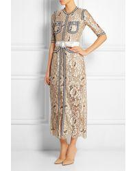 Alessandra Rich - Multicolor Passementerie-Trimmed Floral-Lace Gown - Lyst