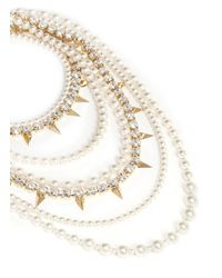 Joomi Lim | Metallic Faux Pearl Spike And Strass Tier Necklace | Lyst