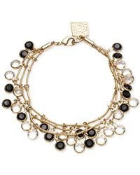 Anne Klein - Black Gold-Tone Jet Stone And Crystal Three-Row Bracelet - Lyst