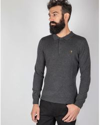 Farah - Gray Afri Knitted Polo Shirt With Long Sleeves Grey for Men - Lyst