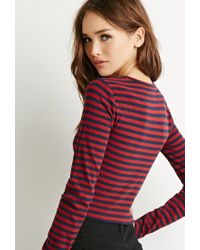 Forever 21 | Blue Striped Crop Top | Lyst