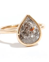 Melissa Joy Manning | Metallic Gray With Red Inclusion Pear Shape Diamond Ring | Lyst