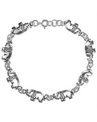 Aeravida | Metallic Double Sided Elephants Link Sterling Silver Bracelet | Lyst