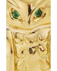 "Monica Rich Kosann | Metallic 18k Yellow Gold Owl ""wisdom"" Charm With Green Tourmaline Eyes And Brown Obsidian Branch 