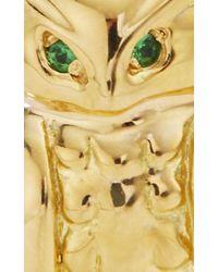 "Monica Rich Kosann - Metallic 18k Yellow Gold Owl ""wisdom"" Charm With Green Tourmaline Eyes And Brown Obsidian Branch - Lyst"