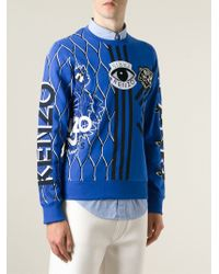 KENZO - Blue Multi Logo Sweatshirt for Men - Lyst