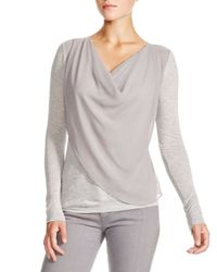 Velvet By Graham & Spencer | Gray Draped Chiffon Overlay Tee | Lyst