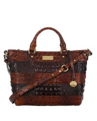 Brahmin - Brown Mini Arno Embossed Leather Colorblock Tote Bag - Lyst