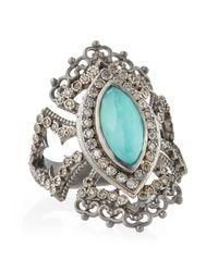 Armenta - Metallic New World Scalloped Green Turquoise & Diamond Ring for Men - Lyst