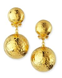 Jose & Maria Barrera - Metallic Hammered Gold Plated Drop Clip-On Earrings - Lyst