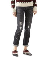 Gucci - Black Stone Washed Stretch Ripped Denim Pant for Men - Lyst