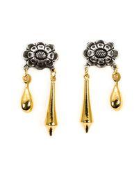 Rodarte | Metallic Flower Pendant Earrings | Lyst