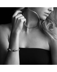 David Yurman - Metallic Crossover Bracelet With Pearls And Diamonds - Lyst