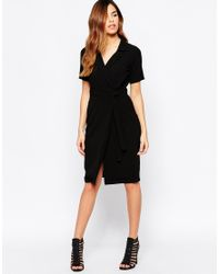 ASOS | Black Petite Belted Shirt Dress With Wrap Front | Lyst