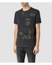 AllSaints | Black Painted Leopald Crew T-shirt for Men | Lyst