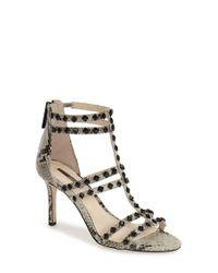 BCBGeneration | Black 'dariah' Studded T-strap Sandal | Lyst