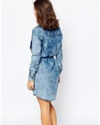 Noisy May Petite - Black Acid Wash Long Sleeve Shirt Dress - Lyst