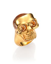 Alexander McQueen | Metallic Small Mask Skull Ring | Lyst