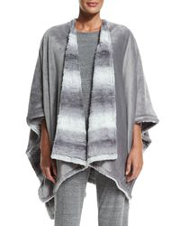 Natori - Gray Reversible Blanket Shawl - Lyst
