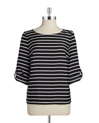 Calvin Klein | Black Striped Blouse | Lyst