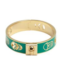 Alexander McQueen | Green And Gold Pierced Skull Bangle | Lyst