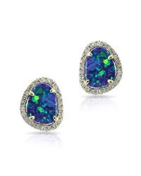 Anne Sisteron | Blue 14kt Yellow Gold Mini Organic Opal Diamond Stud Earrings | Lyst