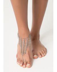 Bebe - Metallic Crystal Chain Foot Jewelry - Lyst