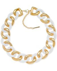 T Tahari | Metallic Gold-Tone White Chunky Link Necklace | Lyst