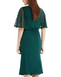 Oasis - Green Lace Sleeve Victoriana Midi - Lyst