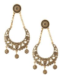 Oscar de la Renta | Metallic Golden Filigree Crescentdrop Earrings | Lyst