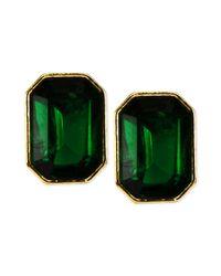 Anne Klein - Goldtone Green Stone Stud Earrings - Lyst