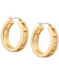 T Tahari - Metallic Gold-tone Patterned Hoop Earrings - Lyst