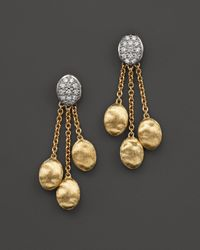 Marco Bicego | Metallic Siviglia Triple Drop 18k Yellow Gold Earrings With Diamonds | Lyst
