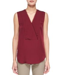 Theory | Red Taneah Modern Georgette Blouse | Lyst