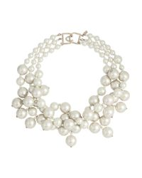 Kenneth Jay Lane | White Gold-Plated Faux Pearl Necklace | Lyst